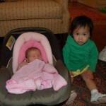 Elise and her two week old cousin, Vivian