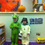 William and Elise ready to trick or treat at school