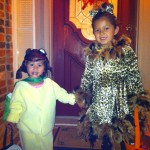 Sweet Kate helped Elise trick or treat the whole night