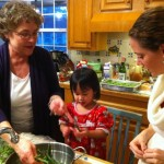 Snapping green beans with Mamaw and Erin