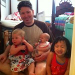 Uncle James with Olive (his daughter), Maggie, and Elise