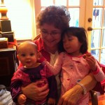 Mamaw rocking Maggie and Elise