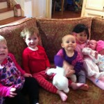 All the cousins, Olive, Vivian Maggie, Elise, Audrey, Isabella