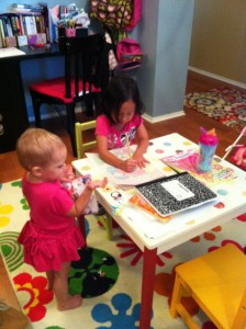 Elise and Maggie busy crafting
