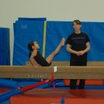 On the beam (I think her core is stronger than mine)