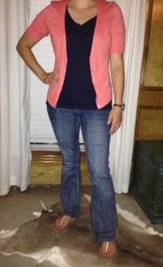 6.22 - Rainy day at home - blue vneck tshirt, orange cardigan, bootcut jeans, and sandals
