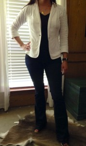 6.23 - White blazer, dark grey v-neck tee, dark denim flare jeans, black TOMs wedges