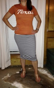 6.26 - Vintage Texas tee (it was my dad's so it's okay that it's not TCU), navy striped skirt, nude sandals