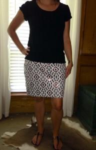 6.20 - Black embellished tea, patterned sequin skirt, black sandals