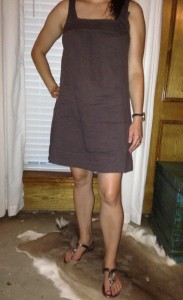 6.30 - Brown a-line tank dress, silver and brown sandals
