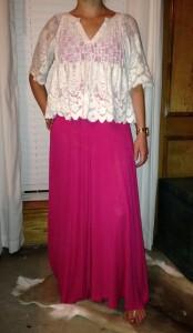 7.1 - Pink maxi dress, ivory crochet top, nude sandals