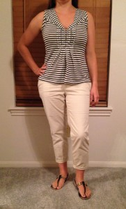 7.3 - Signed a contract for my new teaching job - cropped and rolled khakis, black and white striped sleeveless top, black sandals