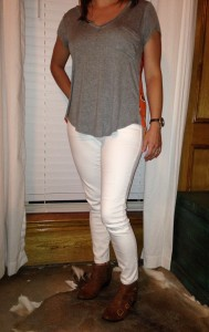 7.6 - White jeans, gray top with patterned back, brown booties for church