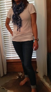 7.9 - I didn't want to just wear a plain tee and jeans so added a scarf even though it's summer.