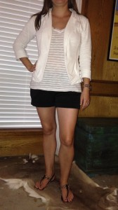 7.11 - Catching up with an old friend in black shorts, white and gray striped shirt, white blazer, and black sandals