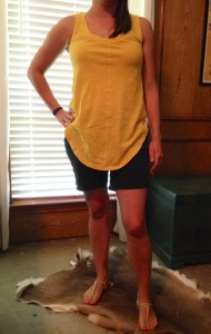 7.12 - Pool party and cook out in a yellow tank, navy shorts, and nude sandals