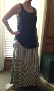 7.13 - Black tank, striped maxi skirt, and sandals - tanks and sandals became a staple