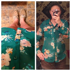 7.15 - Headed to the children's museum in khaki shorts, light weight floral silk shirt, and Sperry's