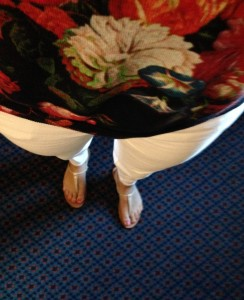 7.21 - First day of conference - Navy light weight sweater with floral print, white skinny jeans, nude sandals