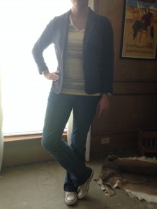 7.28 - t-shirt and jeans with gray blazer and white converse