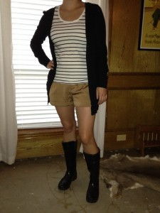 7.30 - Pinterest told me to try this for a rainy day :) - black cardigan, striped sleeveless shirt, khaki shorts, and black rain boots