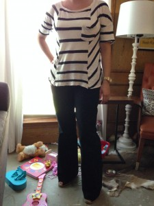 8.13 - Black Striped shirt, black boot cut pants, black TOMs wedges