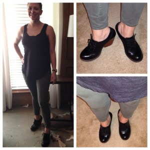 8.10 - A black tank top, olive pants, and new black shoes - wanted them last year and found them on clearance at DSW