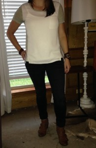 8.17 - Ivory and gray color block silk shirt, black cuffed jeans, and brown boots