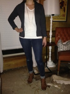 8.18 - Gray blazer, white t-shirt, cuffed blue jeans, and brown boots