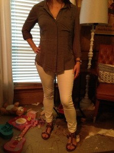 8.14 - Gray tab sleeve button down, white skinny jeans, and brown gladiator sandals