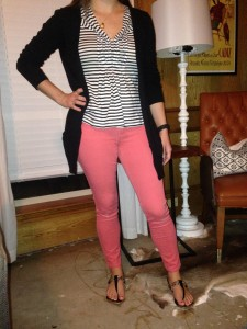 8.20 - Long black cardigan, black and white striped sleeveless shirt, coral skinny jeans, and black sandals