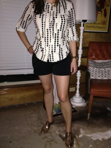 8.24 - Black dots tab sleeve shirt, black shorts, and shiny gold oxfords