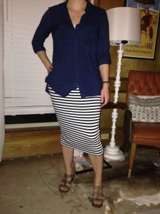 8.25 - Navy tab sleeve button down shirt, navy and white striped midi skirt, brown wedges