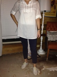 8.26 - white tunic, navy rolled pants, grey oxfords
