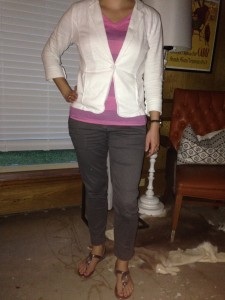 8.27 - gray pants, pink and navy striped shirt, white blazer, silver sandals