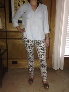 Chambray shirt, patterned pants, black flats with gold capped toe