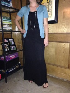 A long black maxi with a turquoise sweater (that I've had forever) gold and turqouise necklace and black sandals