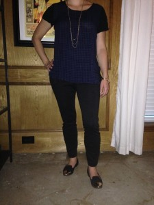 Navy houndstooth top, black cropped pants, black flats with gold cap toe