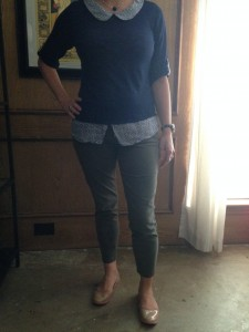 Navy sweater with peter pan collar and shirt tail, olive cropped skinny pants, nude flats