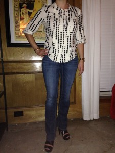 White and black polka dot rolled sleeved blouse, boot cut jeans, black platform sandals