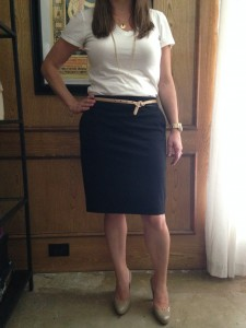 White v-neck t-shirt, black pencil skirt, nude skinny belt, nude pumps - that I can never wear again, already bought new ones apparently my foot is wider now