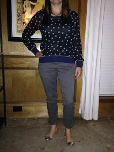 Navy chiffon blouse with gray polka dots, gray cropped skinny pants, nude flats with silver cap toe