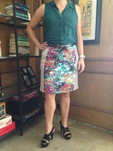 Sleeveless teal blouse, mixed patterned pencil skirt, black skinny belt, and a splurge on black platform sandals