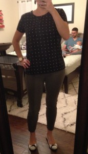 9.29.15 - black top with white dots, olive green skinnies, fun patterned Marc Jacobs flats (found on clearance at DSW 3 years ago)