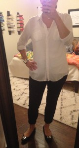 10.6.15 - tab sleeved white button down, black cropped pants, black leather loafers - pretty boring