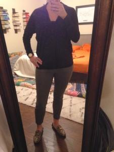 10.19.15 - Black long sleeve shirt, olive cropped skinny pants, python print loafers