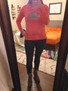 10.21.15 - pink hedgehog sweater, cuffed jeans, gray booties
