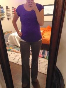 10.22.15 - putple tshirt, gray boot cut pants, gray booties