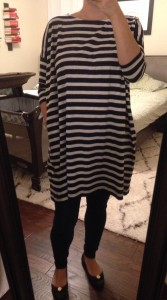 9.23.15 - striped tunic, jeggings, brown ballet flats