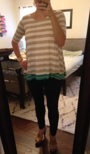 9.27.15 - blousy top, jeggings, nude/taupe heels - not the best choice for running errands with 3 kids after church - live and learn